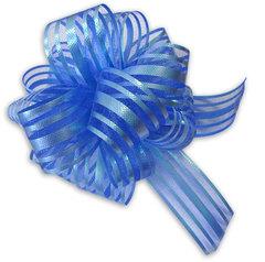 Бант-шар органза с перламутровой полосой 50х160 (синий)