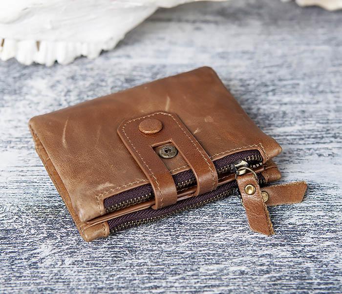 WL307-2 Мужское портмоне коричневого цвета из натуральной кожи фото 03
