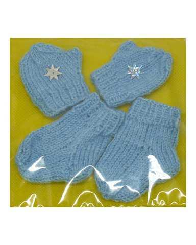 Комплект носки+варежки - Голубой. Одежда для кукол, пупсов и мягких игрушек.