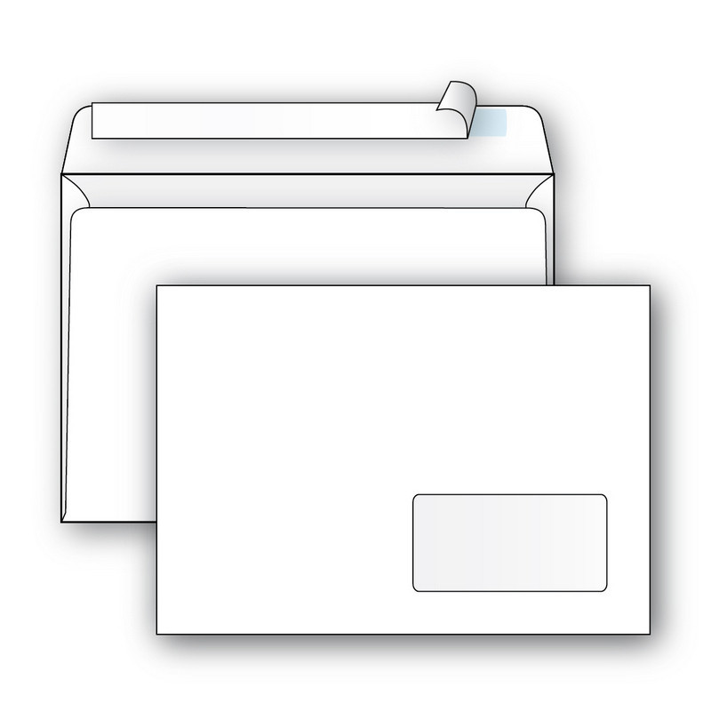 Конверты Ecopost С5 (162х229мм), стрип,пр.окно, 80г, 1000шт/уп /2832