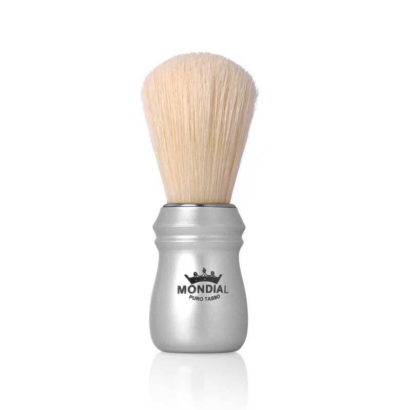 Помазок для бритья Mondial, пластик, свиной ворс, рукоять - матовый серебристый цвет