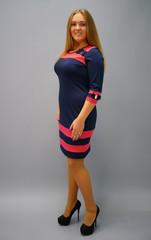 Шанель. Платья больших размеров. Синий+красный.