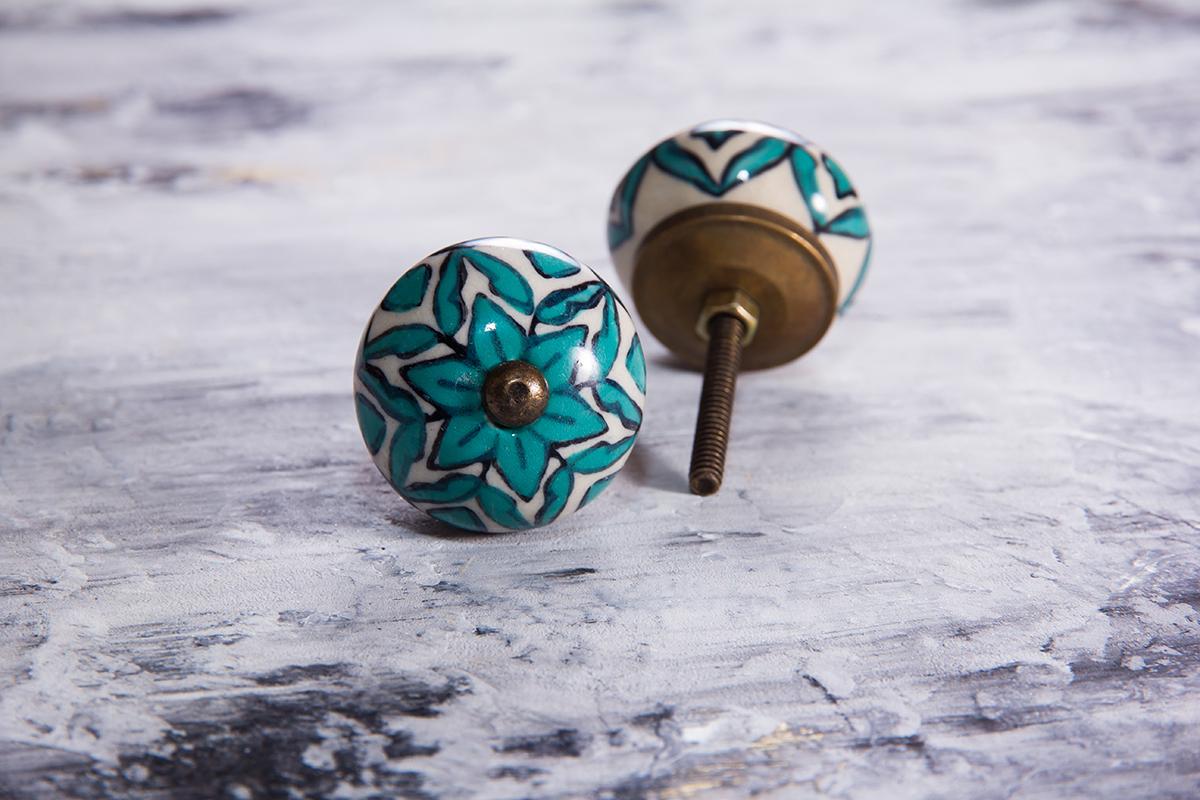 Ручка мебельная керамическая с бирюзовым орнаментом
