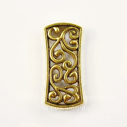 Разделитель на 2 нити 25х12 мм (цвет - античное золото)