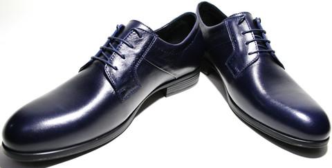 Туфли дерби кожаные синие IKOC
