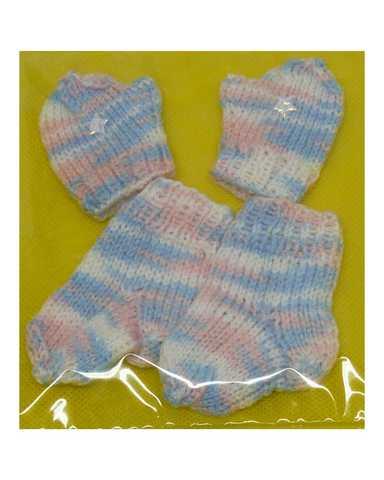 Комплект носки+варежки - Меланж голубой. Одежда для кукол, пупсов и мягких игрушек.