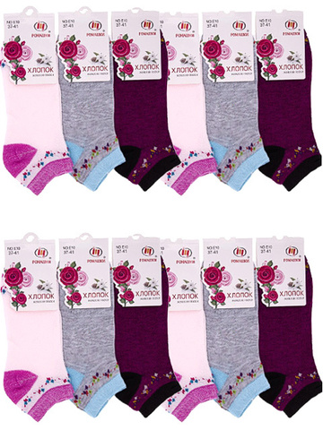 E10 носки женские цветные 37-41 (12шт)