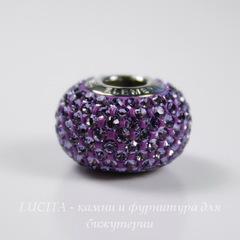 80101 Бусина Сваровски BeCharmed Pave Tanzanite 14х9 мм