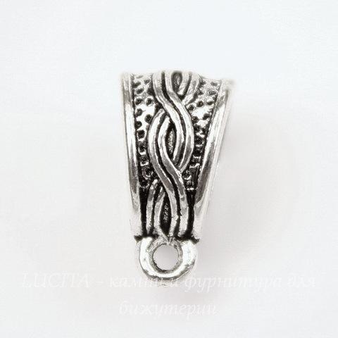 """Бейл """"Косичка"""" 14х9х7 мм (цвет - античное серебро)"""