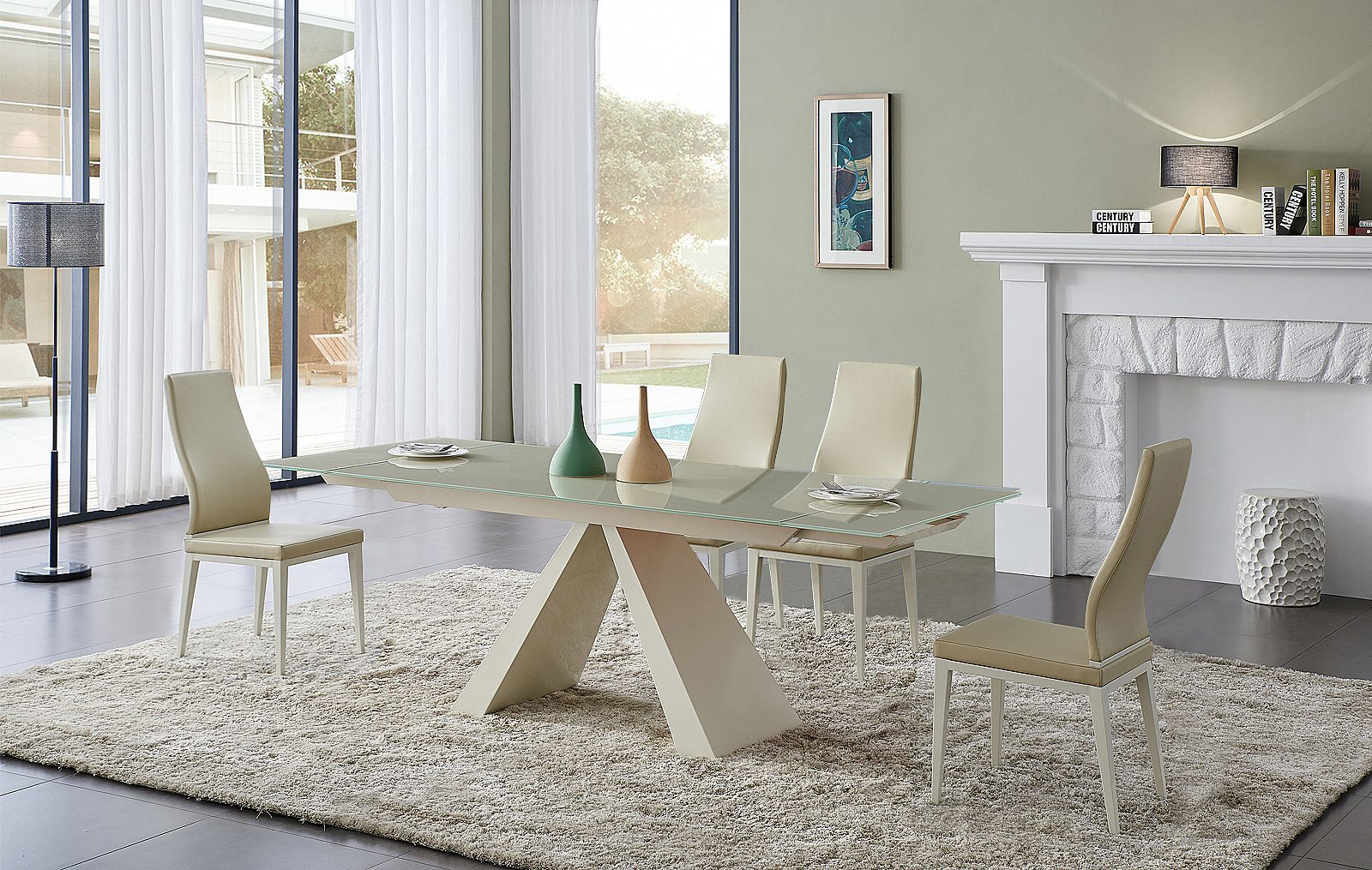 Стол ESF CT2086 бежевый и стулья CY6120 бежевые