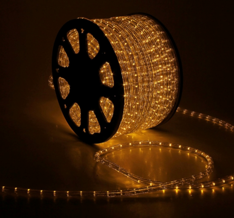 Дюралайт светодиодный, чейзинг, 11мм - 3 жилы - 24 led/m, Желтый - 50м