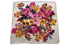 Итальянский платок из шелка белый с цветами 5431