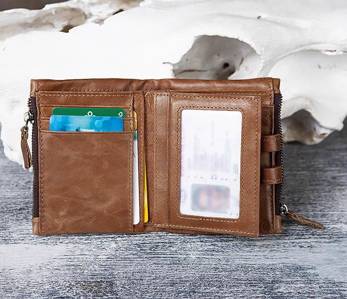 WL307-2 Мужское портмоне коричневого цвета из натуральной кожи фото 08