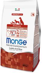 Monge Natural Superpremium Dog Puppy and Junior полноценный корм для щенков всех пород до 10кг с ягненком и рисом 800гр