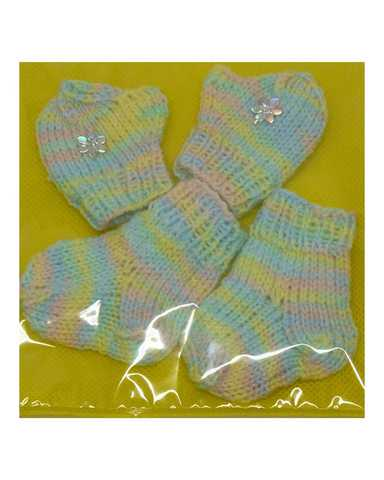 Комплект носки+варежки - Меланж зеленый. Одежда для кукол, пупсов и мягких игрушек.