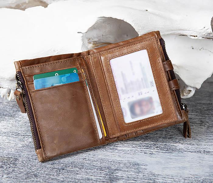 WL307-2 Мужское портмоне коричневого цвета из натуральной кожи фото 09