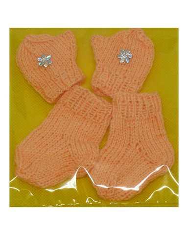 Комплект носки+варежки - Оранжевый. Одежда для кукол, пупсов и мягких игрушек.