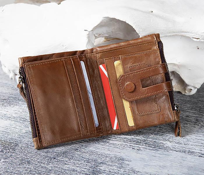 WL307-2 Мужское портмоне коричневого цвета из натуральной кожи фото 10