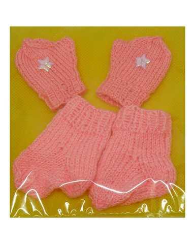 Комплект носки+варежки - Розовый. Одежда для кукол, пупсов и мягких игрушек.