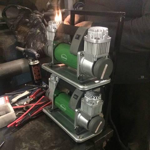 Установка пневносистемы и воздушного компрессора