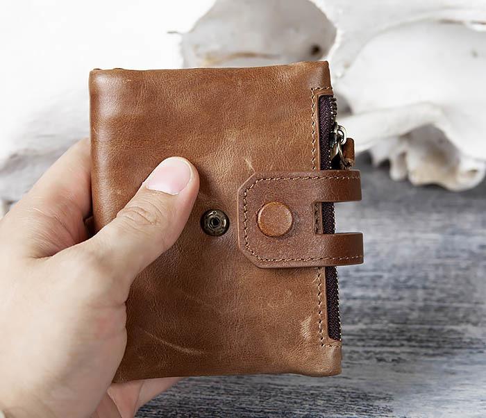 WL307-2 Мужское портмоне коричневого цвета из натуральной кожи фото 11