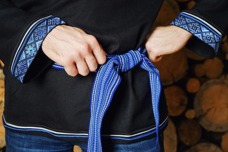 Мужская рубашка Лазурная пояс