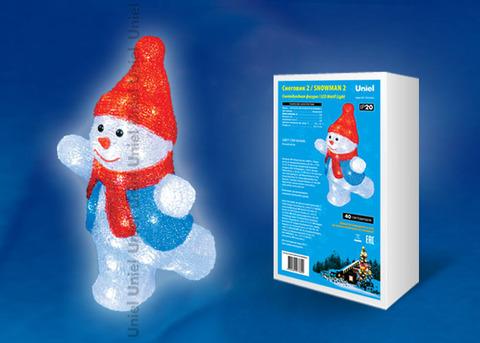 ULD-M2234-040/STA WHITE IP20 SNOWMAN-2 Фигура светодиодная «Снеговик-2», 40 светодиодов, размер 22*17*34 см, цвет свечения-белый, IP20.