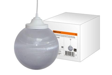 Светильник НСБ 02-60-252 УХЛ4 60 Вт, IP40, шар прозрачный с огранкой 250 мм, шнур белый TDM
