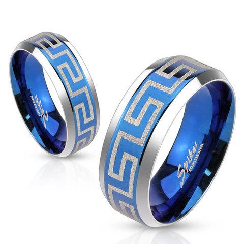Парное синее кольцо с греческим орнаментом для мужчин и женщин из нержавеющей ювелирной медицинской хирургической стали 316L SPIKES R-M3650