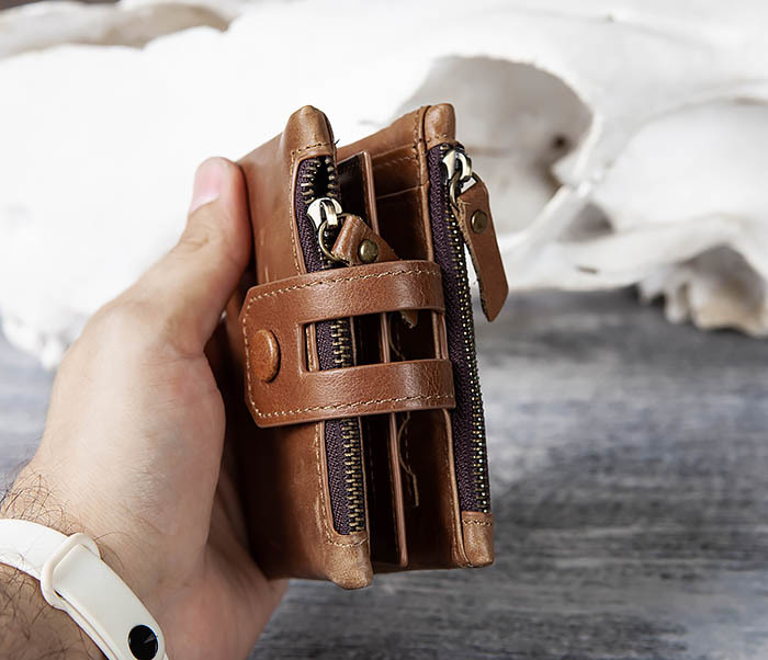 WL307-2 Мужское портмоне коричневого цвета из натуральной кожи фото 13