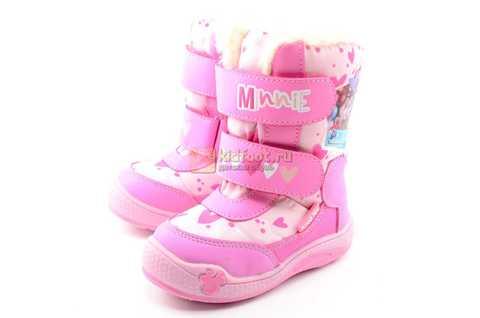 Зимние сапоги Минни Маус (Minnie Mouse) на липучках с мембраной для девочек, цвет розовый. Изображение 7 из 13.