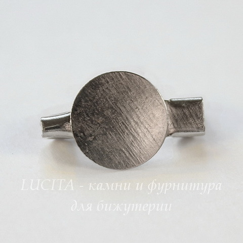 Основа для броши c круглой площадкой 9 мм, 15 мм (цвет - платина)