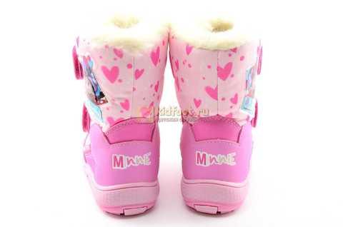 Зимние сапоги Минни Маус (Minnie Mouse) на липучках с мембраной для девочек, цвет розовый. Изображение 8 из 13.