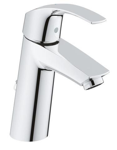 Eurosmart Смеситель однорычажный для раковины со сливным гарнитуром, средний излив, с энергосберегающим картриджем - подача холодной воды при центральном положении рычага