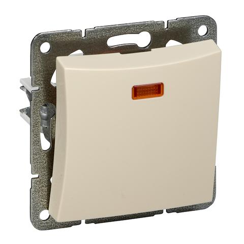 Выключатель одноклавишный с подсветкой (схема 1а) 10 АХ 250 В. Цвет Бежевый. Schneider Electric(Шнайдер электрик). Duet(Дует). WDE000213