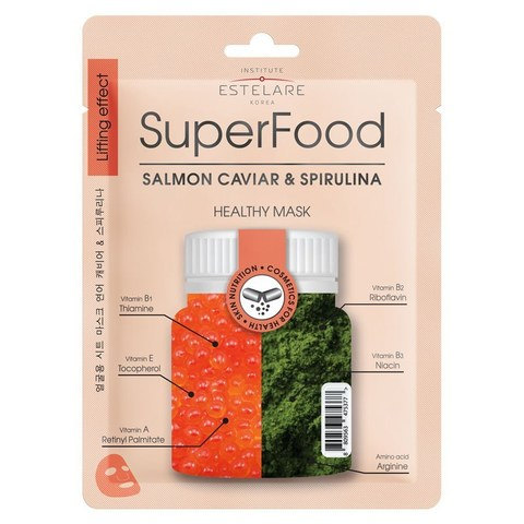 Institute Estelare SuperFood Тканевая маска для лица Икра лосося и Спирулина 25г