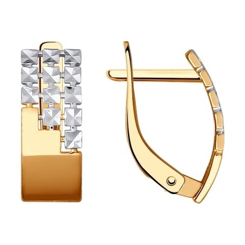 027363 - Серьги из золота с алмазной гранью и фианитами