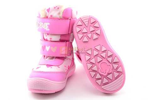 Зимние сапоги Минни Маус (Minnie Mouse) на липучках с мембраной для девочек, цвет розовый. Изображение 9 из 13.