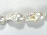 Бусина из жемчуга пресноводного культивированного белого, класс А, фигурная, 20x15 - 29x16 мм (капля, гладкая)