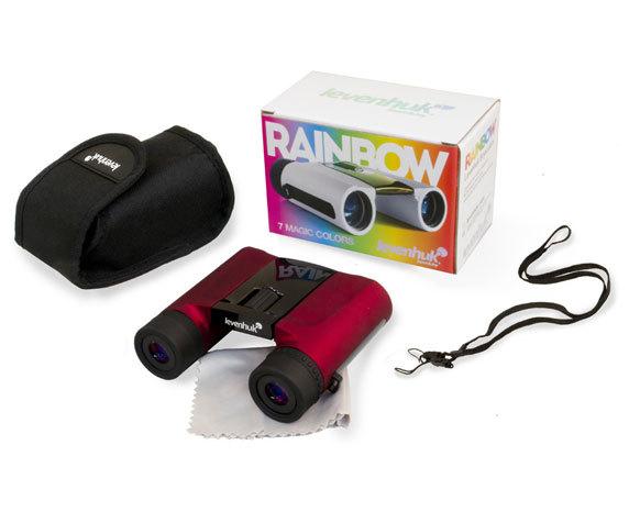 Комплект поставки бинокля Levenhuk Rainbow 8 25, красного цвета