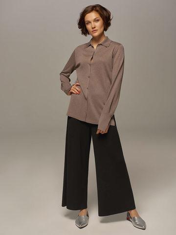 Женский джемпер серо-коричневого цвета на пуговицах - фото 5