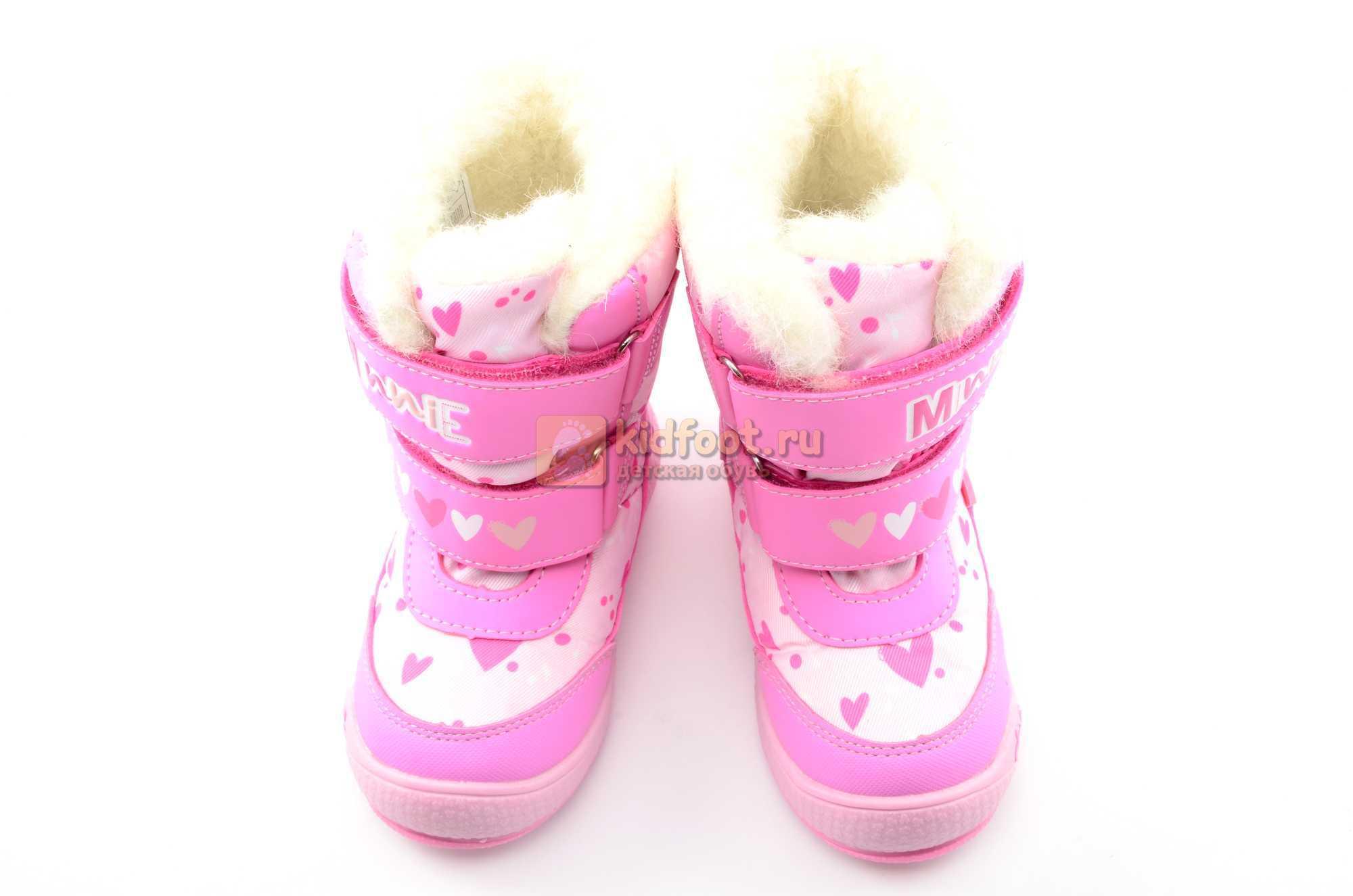 Зимние сапоги Минни Маус (Minnie Mouse) на липучках с мембраной для девочек, цвет розовый