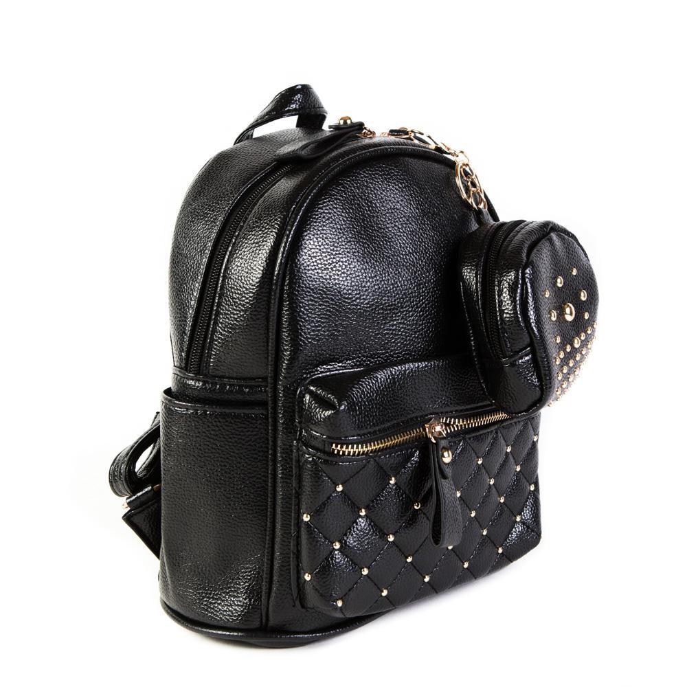 Женский средний рюкзак 20х26х13 см с брелком-кошельком чёрный 2968-1