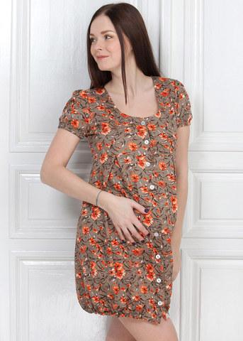 Халат М55 бежевый цветы для беременных и кормящих