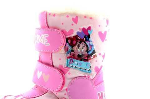 Зимние сапоги Минни Маус (Minnie Mouse) на липучках с мембраной для девочек, цвет розовый. Изображение 12 из 13.