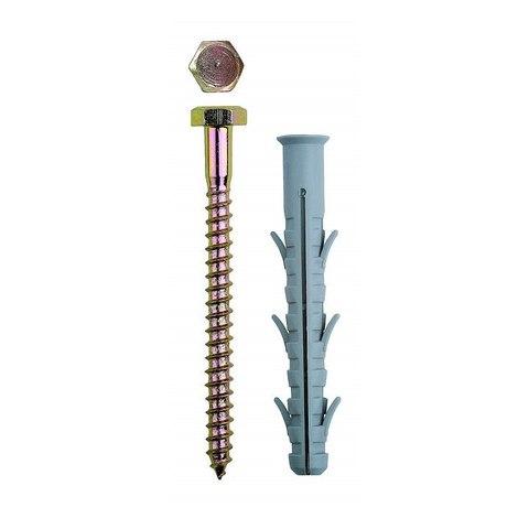 Дюбель рамный нейлоновый, в комплекте с оцинкованным шурупом, шестигранная головка, 10 x 135 мм, 50 шт, ЗУБР Профессионал