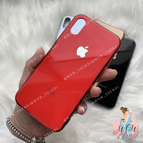 Чехол iPhone X/XS Glass Case Logo /red/