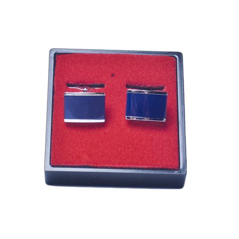 Запонки Lorendi Capri белого металла прямоугольные синие
