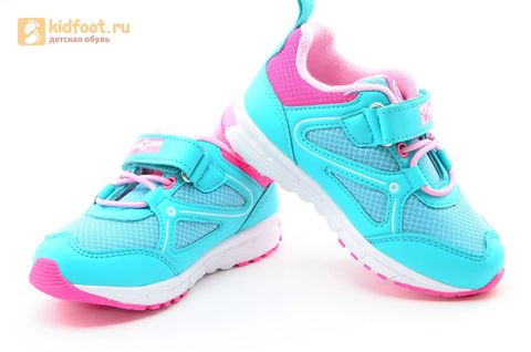 Светящиеся кроссовки для девочек Фиксики на липучках, цвет бирюзовый, мигает картинка сбоку. Изображение 8 из 14.
