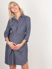 Евромама. Платье-рубашка для беременных горох, темно-синий